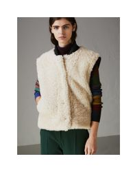 Burberry - Multicolor Two-tone Rib Knit Trim Shearling Gilet - Lyst