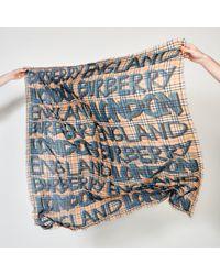 Burberry - Blue Graffiti Print Check Wool Silk Large Square Scarf - Lyst