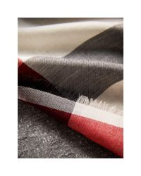 Burberry - Black Lightweight Check Cashmere Scarf - Lyst