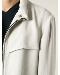 Giorgio Armani | Natural Contrast Trim Zip Front Jacket for Men | Lyst