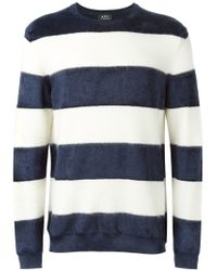 A.P.C. - Blue Striped Sweater for Men - Lyst