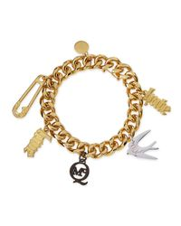 McQ - Metallic Light Golden Love/Hate Charm Bracelet - Lyst