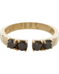 Loren Stewart - Metallic Black Diamond  Gold Open-face Ring - Lyst