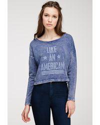 Forever 21 - Blue American Graphic Burnout Sweatshirt - Lyst