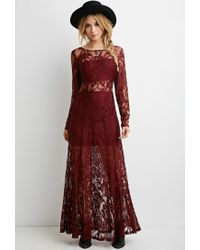 Forever 21 | Purple Floral Lace Maxi Dress | Lyst