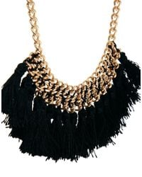 Mango | Black Chain Tassel Short Necklace | Lyst