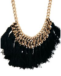 Mango - Black Chain Tassel Short Necklace - Lyst