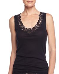 Hanro - Black Isabeau Lace-trimmed Tank Top - Lyst