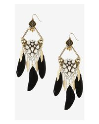 Express - Metallic Rhinestone And Feather Chandelier Earrings - Lyst