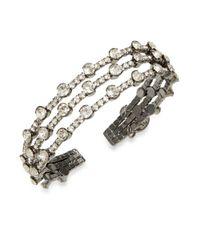 Cara | Metallic Rhinestone Cuff Bracelet | Lyst