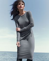 DKNY - Gray Long-sleeve Diagonal Pleat Dress - Lyst