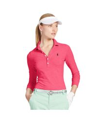 Ralph Lauren Golf - Pink Slim-fit Long-sleeved Polo - Lyst