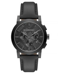 Burberry - Black Mens Brushed Grey And Leather Chronograph Watch for Men - Lyst