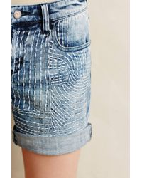 Pilcro | Blue Embroidered Denim Roll-ups | Lyst