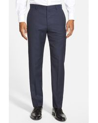 HUGO | Blue 'hamen' Flat Front Solid Wool Trousers for Men | Lyst
