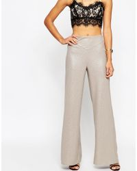 ASOS | Wide Leg Pants In Metallic | Lyst