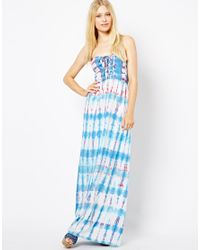 Sugarhill - Blue Printed Maxi Dress - Lyst