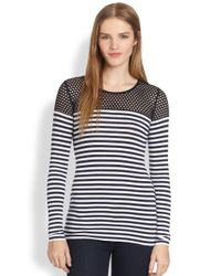 Bailey 44 | Mesh-Paneled Striped Stretch Jersey Top | Lyst