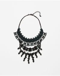 Zara   Green Jewel Pendant Necklace   Lyst