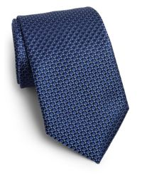 Saks Fifth Avenue | Blue Diamond Print Silk Tie for Men | Lyst