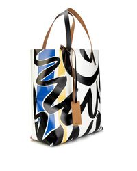 Marni - Blue Abstract-Print Pvc And Leather Tote for Men - Lyst