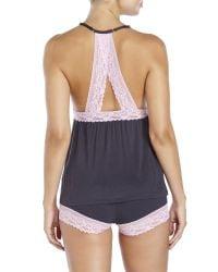Betsey Johnson - Gray Lace Trim Shorts Pajama Set - Lyst