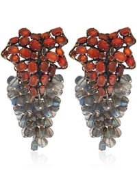 Iradj Moini - Red Carnelian and Labradorite Leaf Clipon Earrings - Lyst