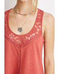 Forever 21 - Brown Embroidered Mesh-paneled Tank You've Been Added To The Waitlist - Lyst