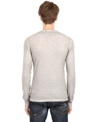 DSquared² - Gray Long Sleeve Cotton Linen Tshirt for Men - Lyst