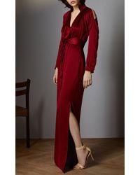 Vilshenko - Purple Jelena Washed Silk Dress With Open Shoulder - Lyst