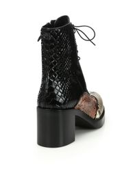 Miu Miu - Black Colorblock Snakeskin Lace-up Boots - Lyst