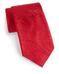 Saks Fifth Avenue | Red Boxed Paisley Silk Tie for Men | Lyst