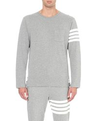 Thom Browne | Gray Striped-sleeve Cotton-piqué Top for Men | Lyst