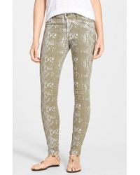CJ by Cookie Johnson | Green 'joy' Python Print Skinny Pants | Lyst