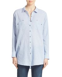 Free People | Blue Oversized Stretch Cotton Shirt | Lyst