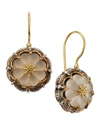 Konstantino | Metallic Round Flower Carved Frosted Crystal Earrings | Lyst