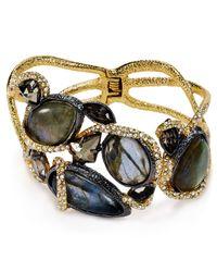 Alexis Bittar | Metallic Labradorite Pyrite Asymmetrical Vine Hinge Bracelet | Lyst