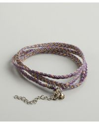 Sogoli | Purple Lavender, Silver And Gold Braided Chain Wrap Bracelet | Lyst