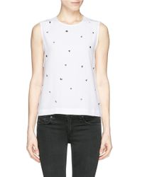 Equipment | White 'reagan' Stud Front Sleeveless Silk Top | Lyst