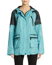Sam Edelman | Blue Mesh Detail Hooded Anorak Jacket | Lyst