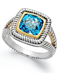 Macy's - Metallic Blue Topaz Rope Ring (2-3/5 Ct. T.w.) In Sterling Silver And 14k Gold - Lyst