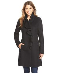 DKNY | Black Ruffle Front Wool Blend Coat | Lyst