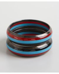 Chamak by Priya Kakkar | Set Of 2- Blue And Red Striped Acrylic And Gunmetal Bangles | Lyst