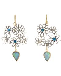 Judy Geib | Blue Opal Flowery Double-drop Earrings | Lyst