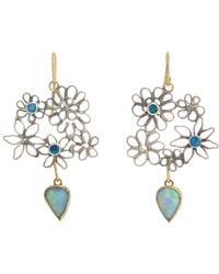 Judy Geib - Green Opal Flowery Double-drop Earrings - Lyst