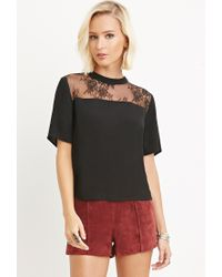 Forever 21 - Black Lace-paneled Top - Lyst