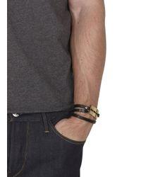 McQ - Metallic Black Razor Leather Wrap Bracelet for Men - Lyst