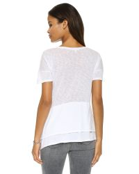 Splendid | Slubbed Jersey Scoop Neck Tee - White | Lyst
