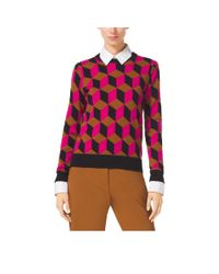 Michael Kors | Purple Hexagon Cashmere Sweater | Lyst