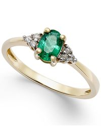 Macy's | Green Emerald (2/5 Ct. T.w.) And Diamond Accent Ring In 10k Gold | Lyst